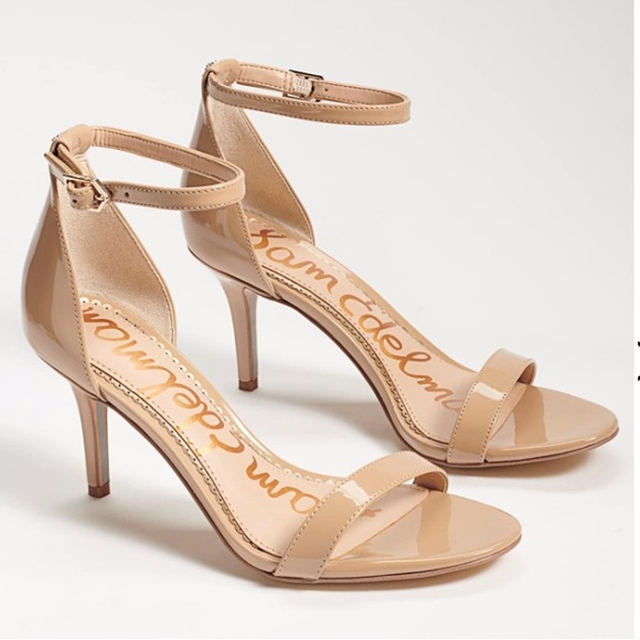 Sam Edelman Patti beige patent ankle strap heel 10
